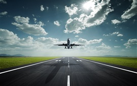 Preview wallpaper Passenger plane take off, airport, road, clouds, sun