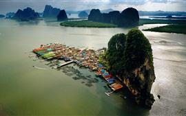 Ilha de Phuket, Tailândia, casas, ilhas, mar, nuvens