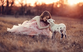 Preview wallpaper Pink dress girl with sheep, grass, sunset