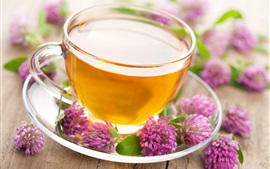 Розовые цветы, чашка, чай, блюдце, напитки