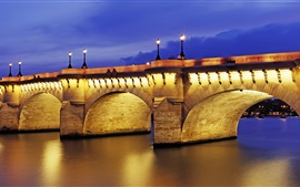 Preview wallpaper Pont Neuf, dusk, illumination, Paris, France