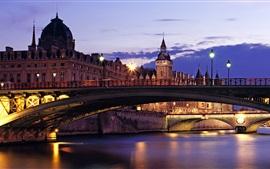 Пон-Нотр-Дам, закат, огни, Париж, Франция