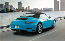 Preview wallpaper Porsche 911 Carrera S cabriolet, blue supercar back view