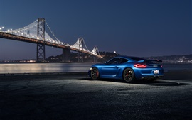 Porsche Cayman GT4 синий автомобиль в ночное время