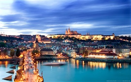 Prague, Czech Republic, Charles Bridge, river, city night view, lights