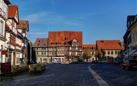 Quedlinburg, Germany, houses, street, road