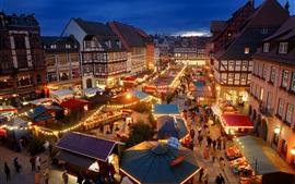 壁紙のプレビュー クヴェトリンブルク、ドイツ、夜、ライト、市場