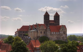 Preview wallpaper Quedlinburg, Germany travel place, houses, clouds, trees