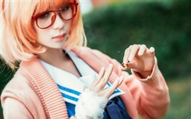 Preview wallpaper Red haired Asian girl, glasses, ring, hand