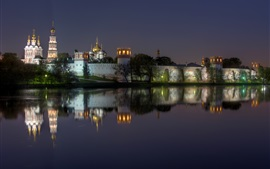 Preview wallpaper Russia, Moscow, Novodevichy Convent, monastery, night, lights, river