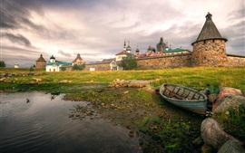 Preview wallpaper Russian North, Solovki fortress, boat, grass, houses, clouds