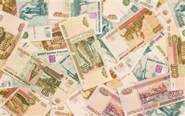 Dinheiro do russo, RUR, moeda, notas de banco