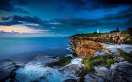 Preview wallpaper Sea, coast, cliff, clouds, lighthouse, dusk, Sydney, Australia