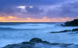Preview wallpaper Sea, coast, dusk, Coolangatta, Queensland, Australia