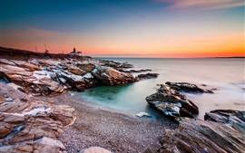 Preview wallpaper Sea, coast, rocks, lighthouse, sunset