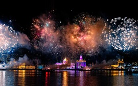 Preview wallpaper Shanghai, China, harbour, fireworks, beautiful night