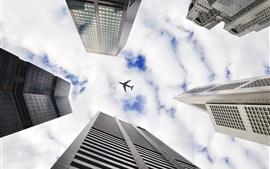 Skyscrapers, regardez, avion, ciel, nuages