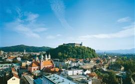 Eslovénia, Ljubljana, cidade, casas, castelo