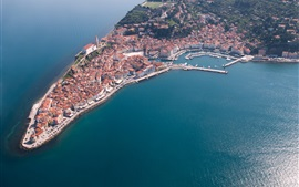 Preview wallpaper Slovenia, Piran, peninsula, buildings, dock, top view, sea