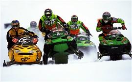 Aperçu fond d'écran Motoneige, sports, course, neige épaisse