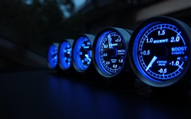 Preview wallpaper Speedometer, speed, miles, blue lights