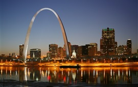 Preview wallpaper St. Louis, city night, Gateway Arch, houses, lights, river, America