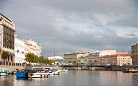 Preview wallpaper St. Petersburg, Russia, city, river, houses
