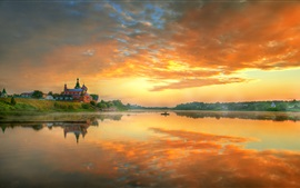 Preview wallpaper Staraya Ladoga, Russia, morning, sunrise, red sky, clouds, river