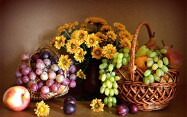 Preview wallpaper Still life, chrysanthemum, red and green grapes, apple, pears, fruits
