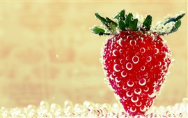 Strawberry close-up, water bubbles, sweet fruit