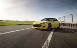 Subaru BRZ yellow car, road, fence