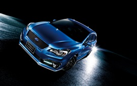 Subaru Impreza sport hybrid blue car at night