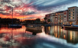 Sunset, dusk, houses, river, boats, water reflection