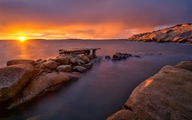 Sunset sea, sun rays, dusk, rocks