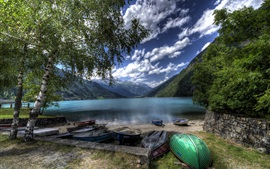 Switzerland, Poschiavo Lake, mountains, trees, shore, boats