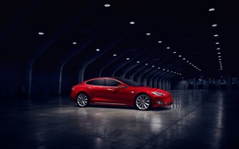 Vorschau des Hintergrundbilder Tesla Model S rot Elektroauto  Seitenansicht