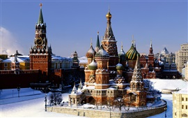 Preview wallpaper The Kremlin, Moscow, Russia, Basil's Cathedral, winter, snow