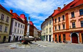 Viajar a Ljubljana en Eslovenia, casas, carreteras, cielo azul