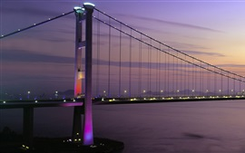 Preview wallpaper Tsing Ma Bridge, Hong Kong, sunset, lights, bay