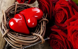 Deux coeurs d'amour dans le nid, rose rouge, la Saint-Valentin