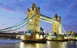 미리보기 배경 화면 영국, 런던, 타워 브릿지, 템스 강, 밤, 조명