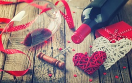 Preview wallpaper Valentine's Day, romantic, love hearts, wine, glass cup, gift