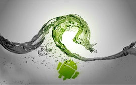 Preview wallpaper Water wave splash, Android robot