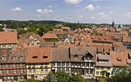 Preview wallpaper Welcome to Quedlinburg in Germany, houses, trees, clouds