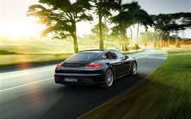 Preview wallpaper 2015 Porsche Panamera black supercar back view and speed