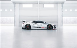 Acura NSX GT3 supercar branco vista lateral