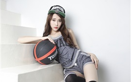 Preview wallpaper Asian girl, sport, basketball