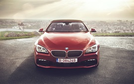 BMW 640i red convertible car front view