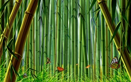 Preview wallpaper Bamboo forest, butterflies, grass