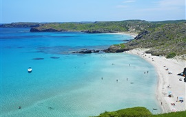 Beach, blue sea, hiking pedestrian, Spain, Menorca